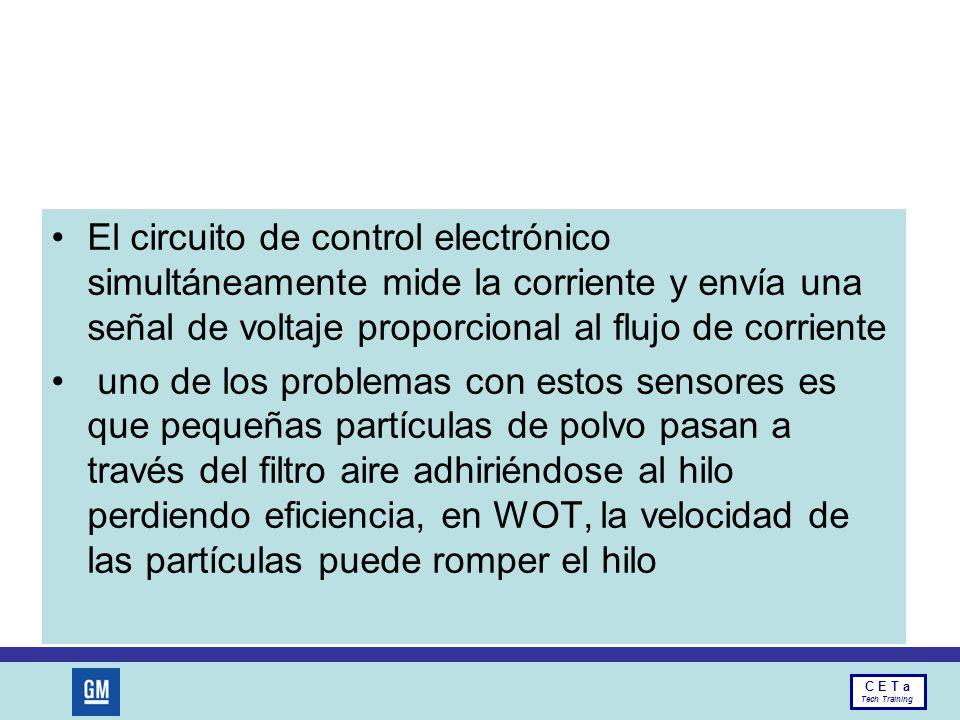 El circuito de control electrónico simultáneamente mide la corriente y envía una señal de voltaje proporcional al flujo de corriente
