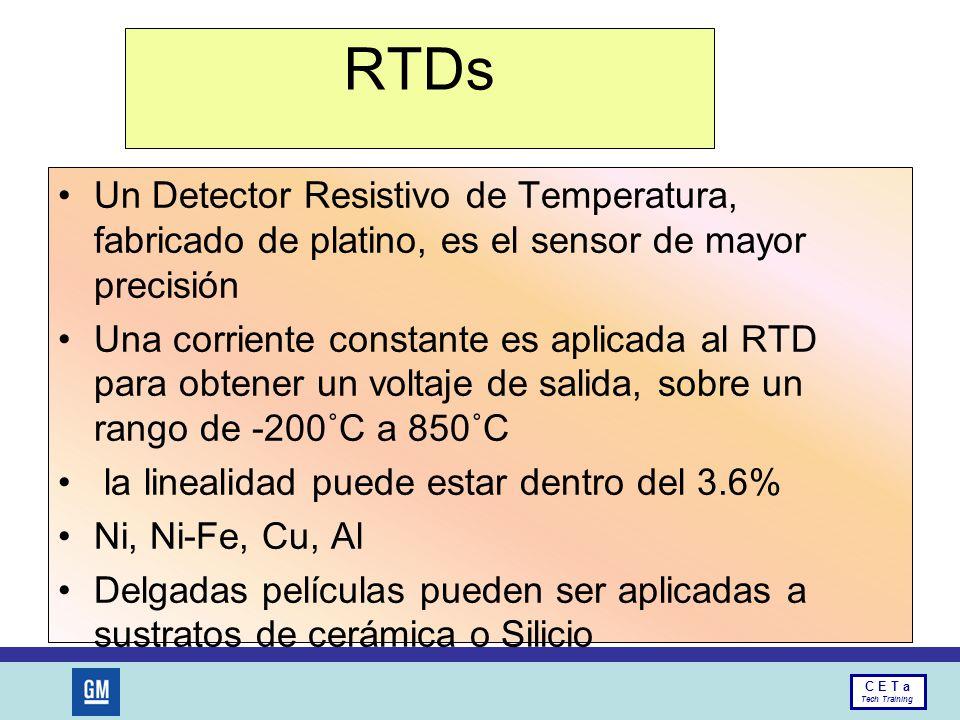 RTDs Un Detector Resistivo de Temperatura, fabricado de platino, es el sensor de mayor precisión.