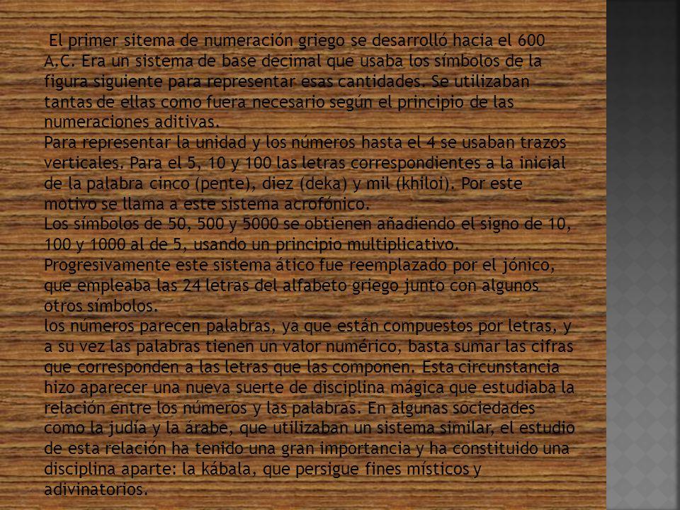 El primer sitema de numeración griego se desarrolló hacia el 600 A. C