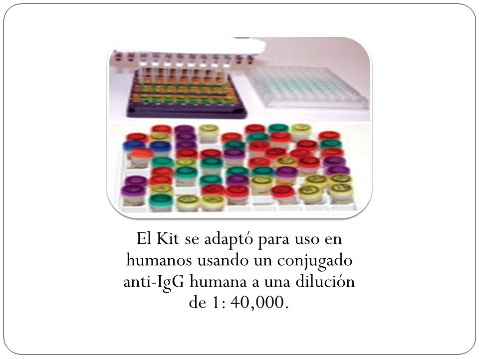 El Kit se adaptó para uso en humanos usando un conjugado anti-IgG humana a una dilución de 1: 40,000.