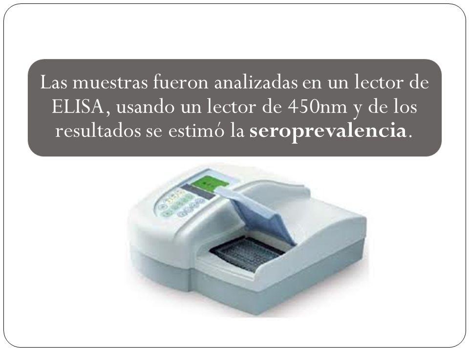 Las muestras fueron analizadas en un lector de ELISA, usando un lector de 450nm y de los resultados se estimó la seroprevalencia.