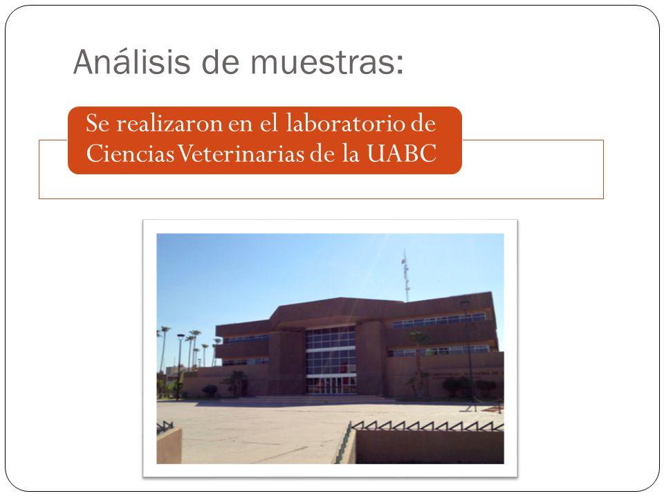 Análisis de muestras: Se realizaron en el laboratorio de Ciencias Veterinarias de la UABC