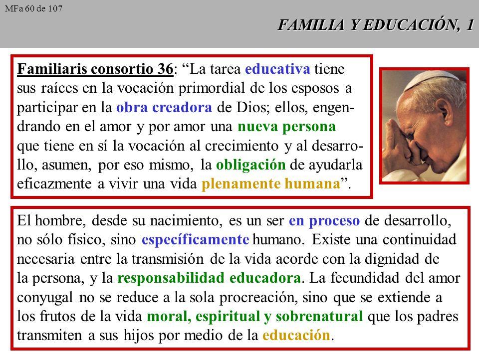 Familiaris consortio 36: La tarea educativa tiene