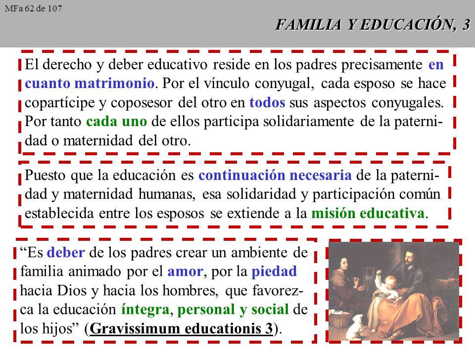 El derecho y deber educativo reside en los padres precisamente en