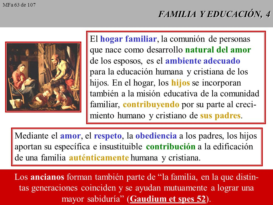 El hogar familiar, la comunión de personas