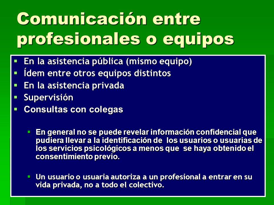 Comunicación entre profesionales o equipos