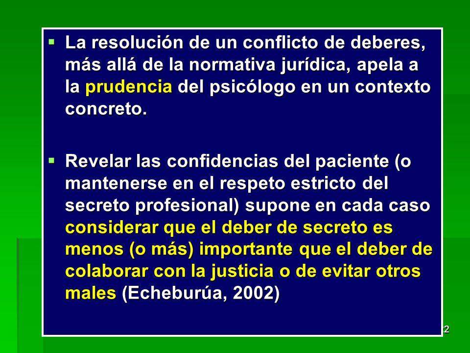 La resolución de un conflicto de deberes, más allá de la normativa jurídica, apela a la prudencia del psicólogo en un contexto concreto.