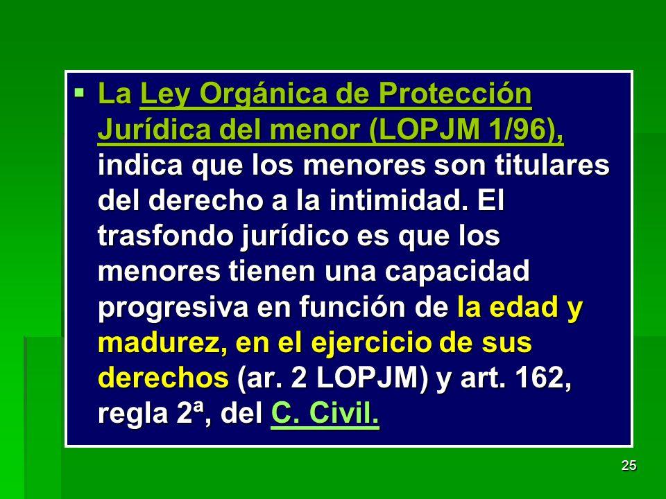 La Ley Orgánica de Protección Jurídica del menor (LOPJM 1/96), indica que los menores son titulares del derecho a la intimidad.