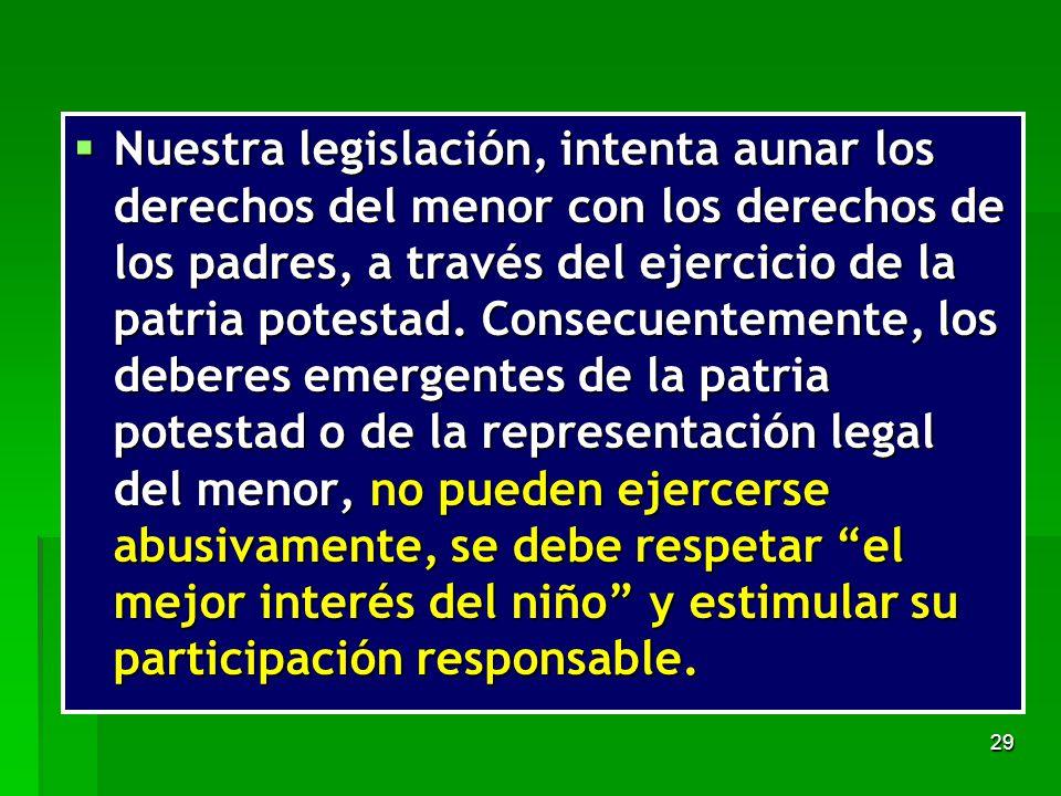 Nuestra legislación, intenta aunar los derechos del menor con los derechos de los padres, a través del ejercicio de la patria potestad.