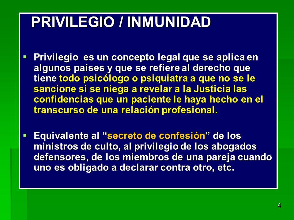 PRIVILEGIO / INMUNIDAD