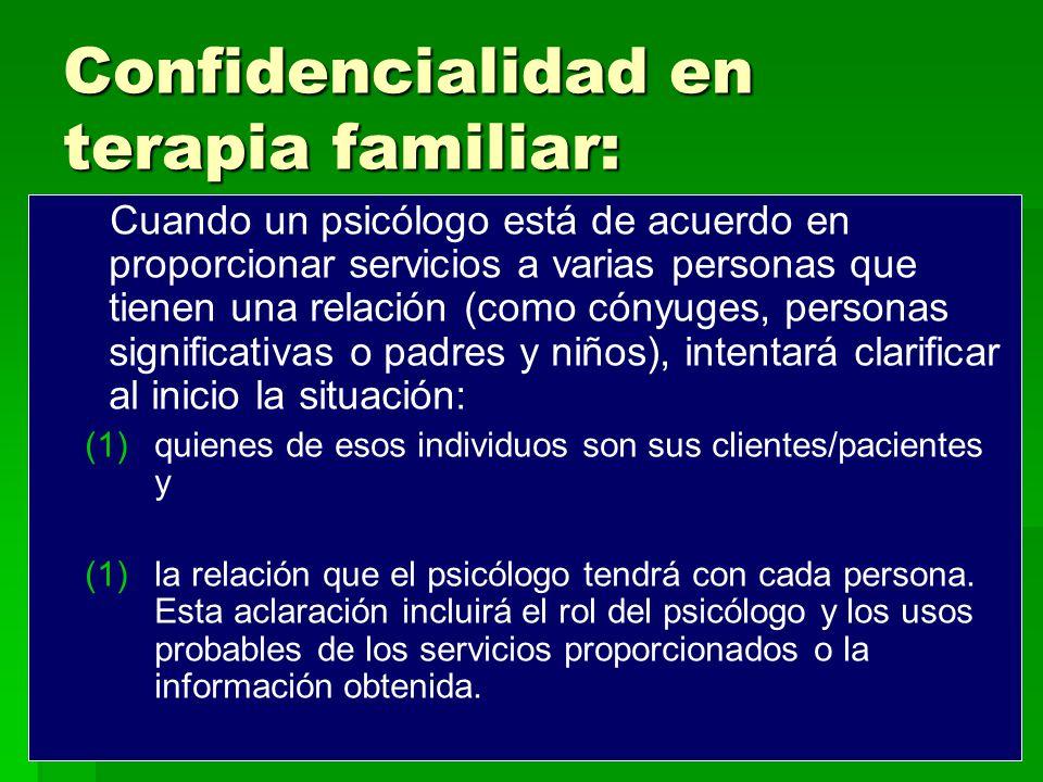 Confidencialidad en terapia familiar: