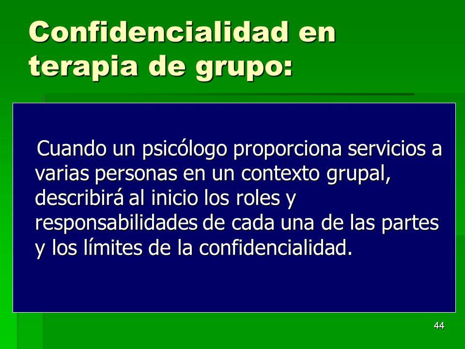 Confidencialidad en terapia de grupo: