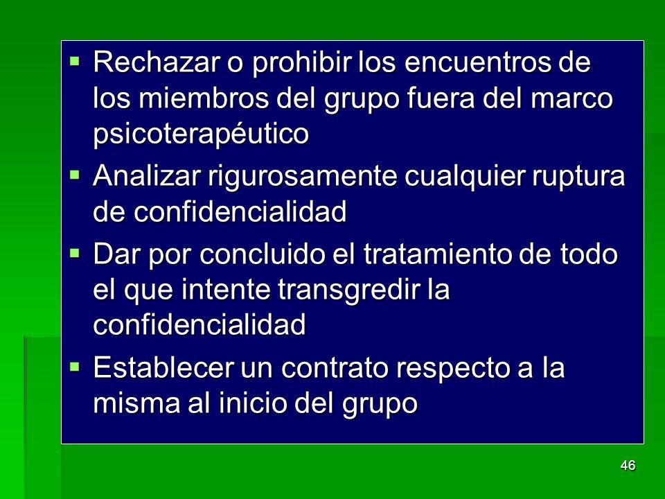 Rechazar o prohibir los encuentros de los miembros del grupo fuera del marco psicoterapéutico