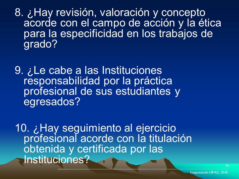 8. ¿Hay revisión, valoración y concepto acorde con el campo de acción y la ética para la especificidad en los trabajos de grado