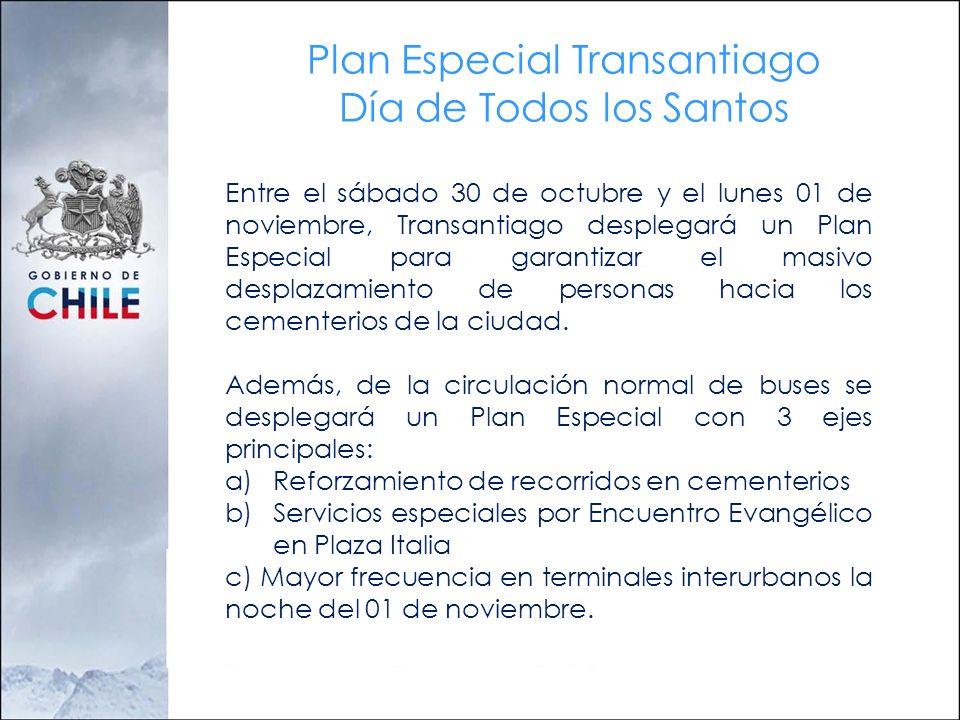 Plan Especial Transantiago Día de Todos los Santos