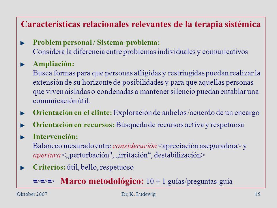 Características relacionales relevantes de la terapia sistémica