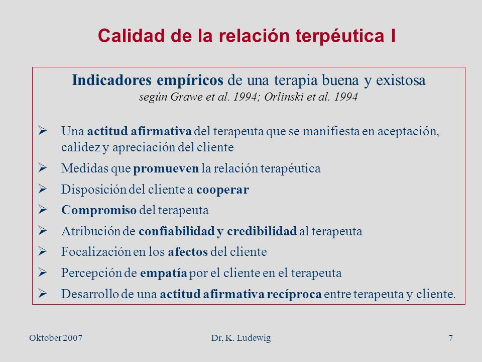 Calidad de la relación terpéutica I