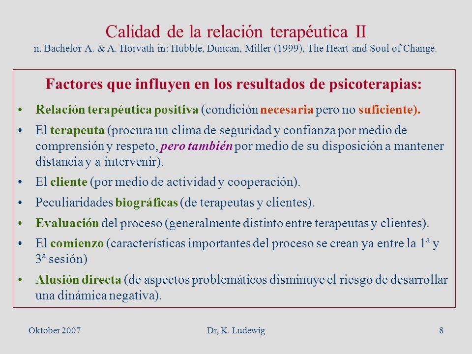 Factores que influyen en los resultados de psicoterapias: