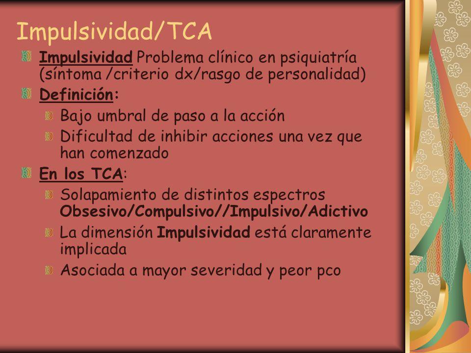 Impulsividad/TCA Impulsividad Problema clínico en psiquiatría (síntoma /criterio dx/rasgo de personalidad)