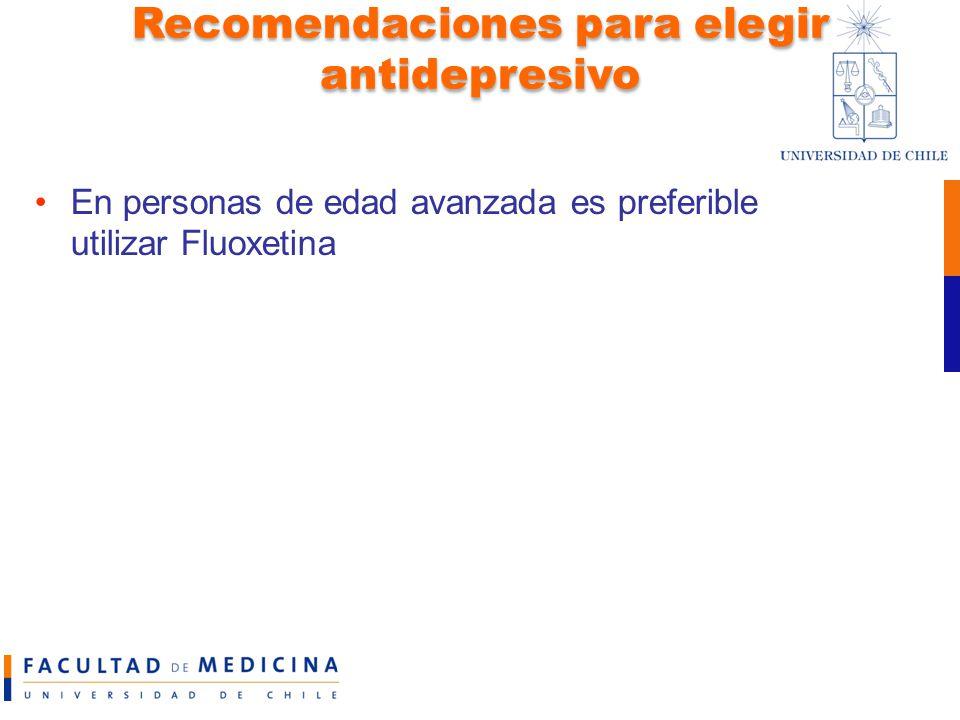 Recomendaciones para elegir antidepresivo