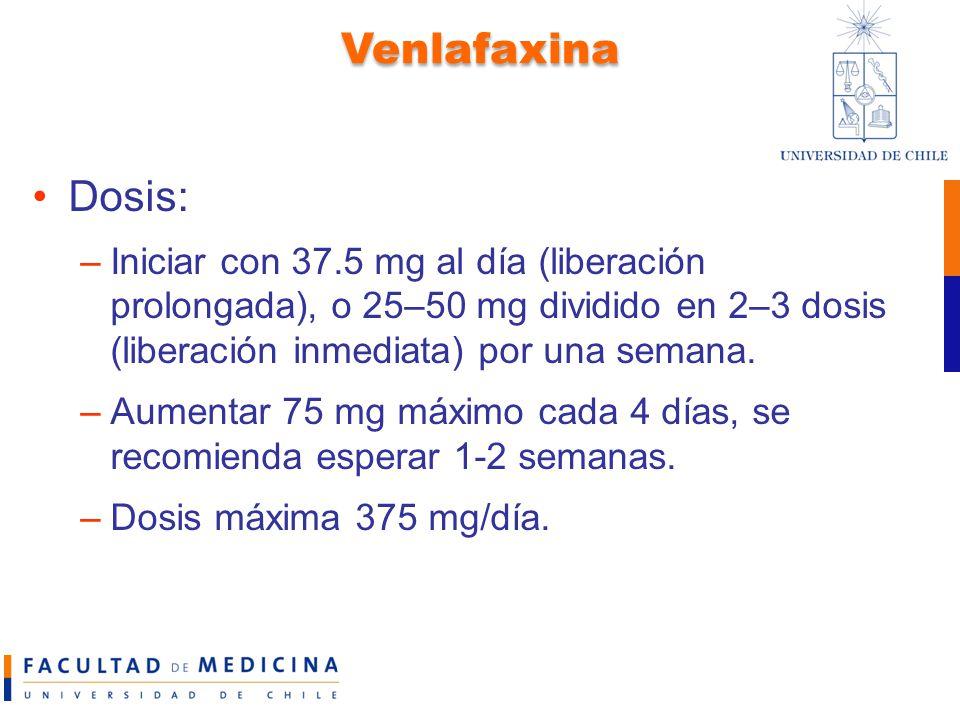 Venlafaxina Dosis: Iniciar con 37.5 mg al día (liberación prolongada), o 25–50 mg dividido en 2–3 dosis (liberación inmediata) por una semana.