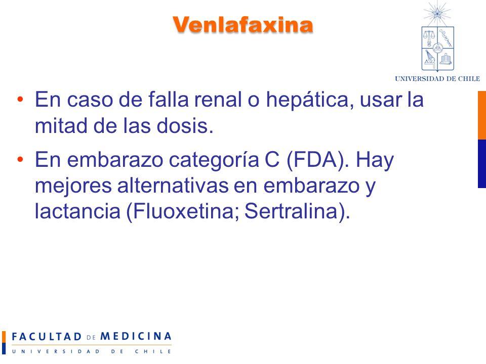 Venlafaxina En caso de falla renal o hepática, usar la mitad de las dosis.