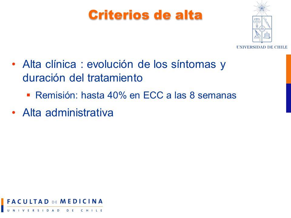 Criterios de alta Alta clínica : evolución de los síntomas y duración del tratamiento. Remisión: hasta 40% en ECC a las 8 semanas.