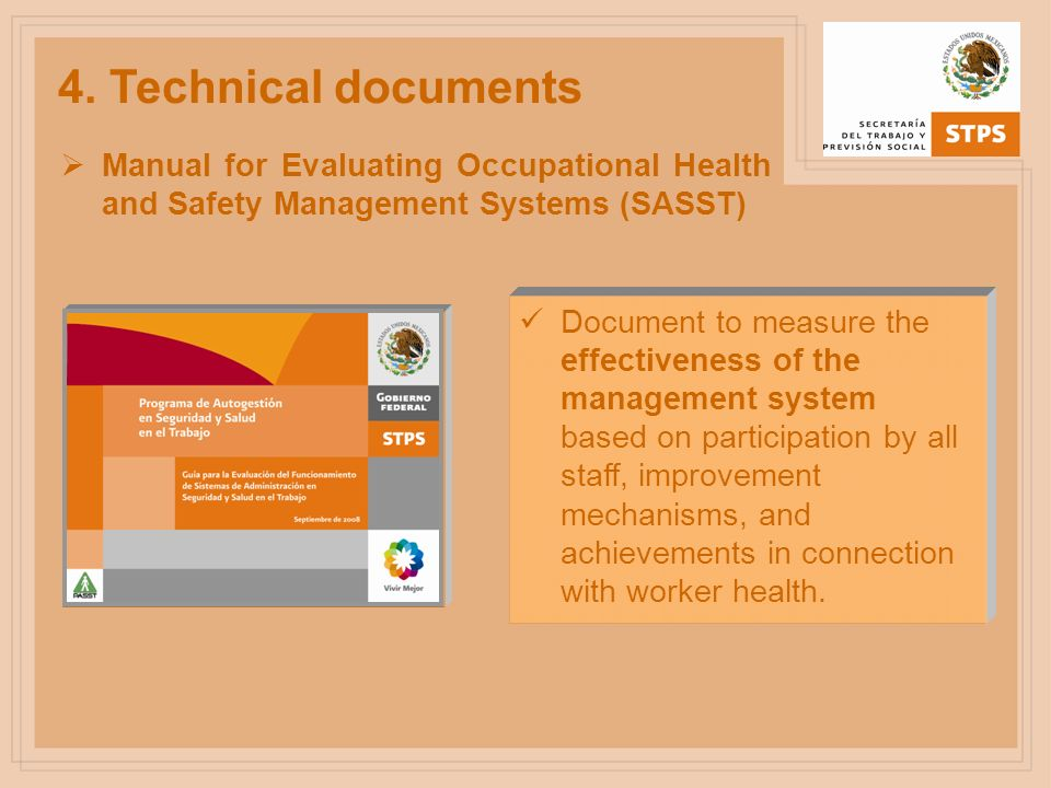 4. Technical documentsManual for Evaluating Occupational Health and Safety Management Systems (SASST)