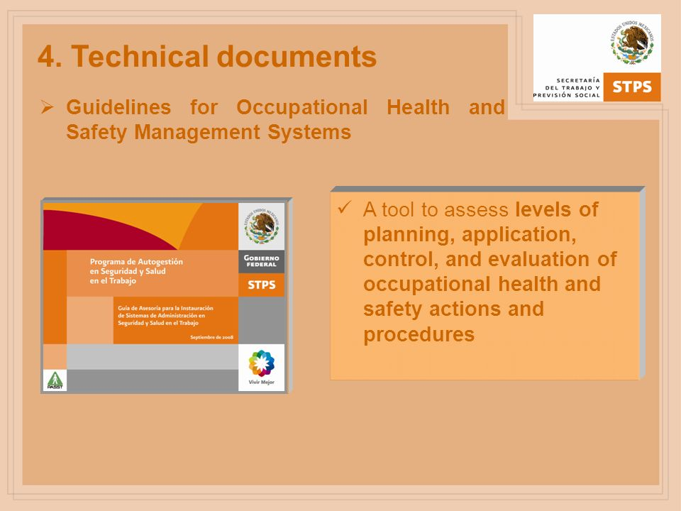 4. Technical documents Guidelines for Occupational Health and Safety Management Systems.