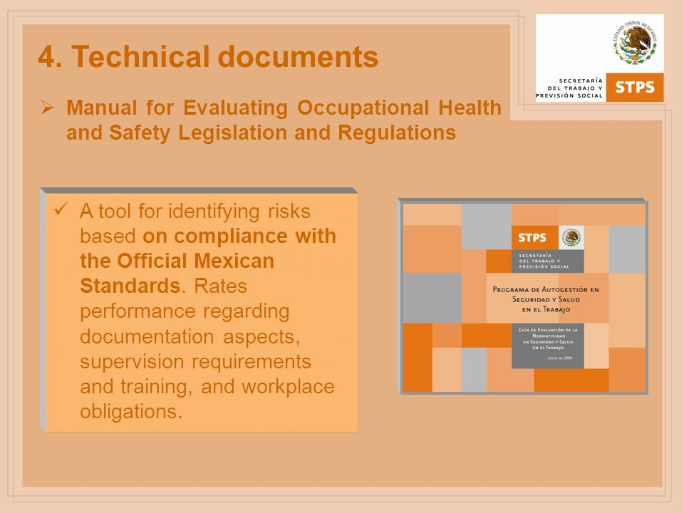 4. Technical documents Manual for Evaluating Occupational Health and Safety Legislation and Regulations.
