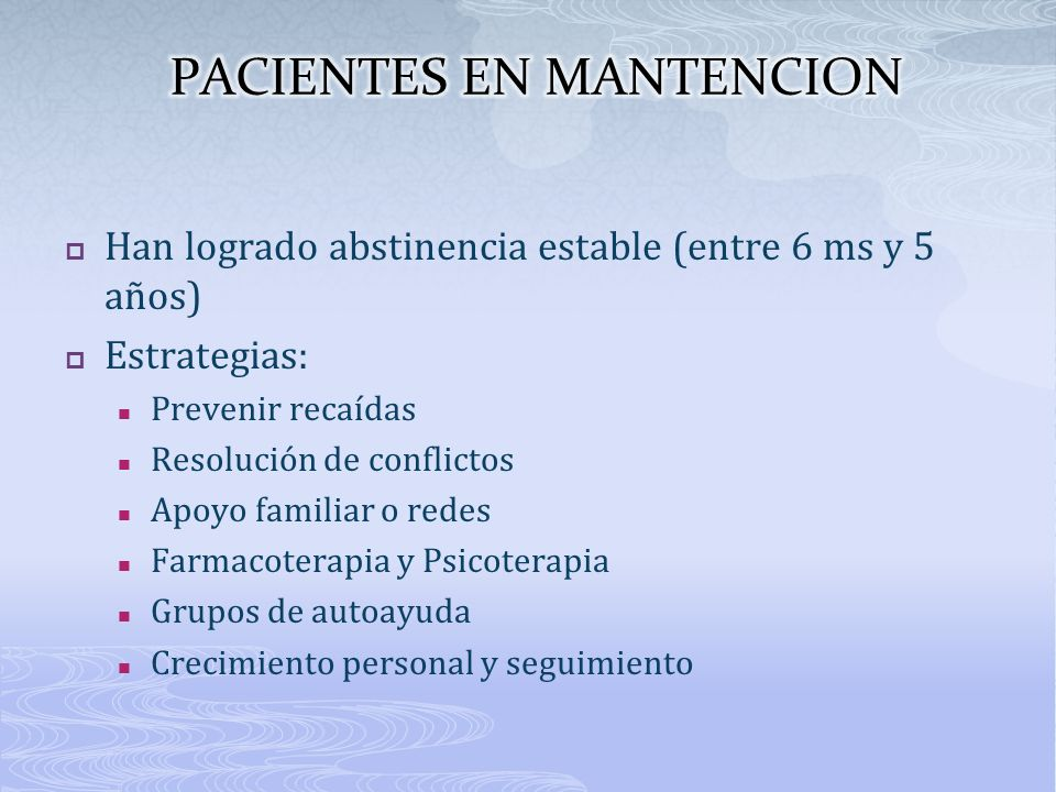 PACIENTES EN MANTENCION
