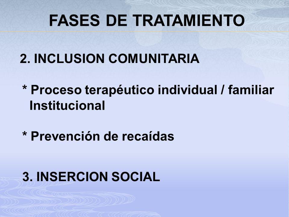 FASES DE TRATAMIENTO 2. INCLUSION COMUNITARIA
