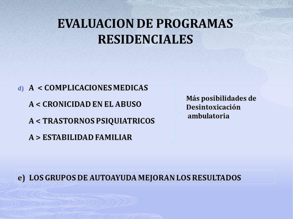 EVALUACION DE PROGRAMAS RESIDENCIALES