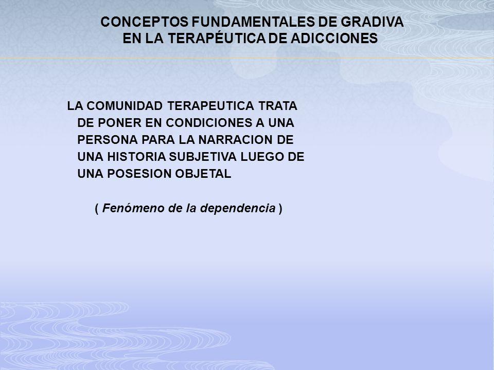 CONCEPTOS FUNDAMENTALES DE GRADIVA EN LA TERAPÉUTICA DE ADICCIONES