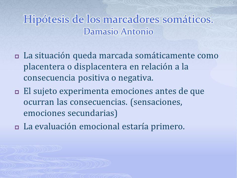 Hipótesis de los marcadores somáticos. Damasio Antonio