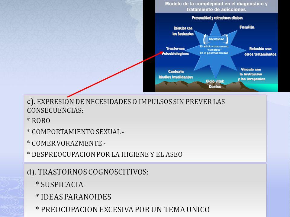 c). EXPRESION DE NECESIDADES O IMPULSOS SIN PREVER LAS CONSECUENCIAS: