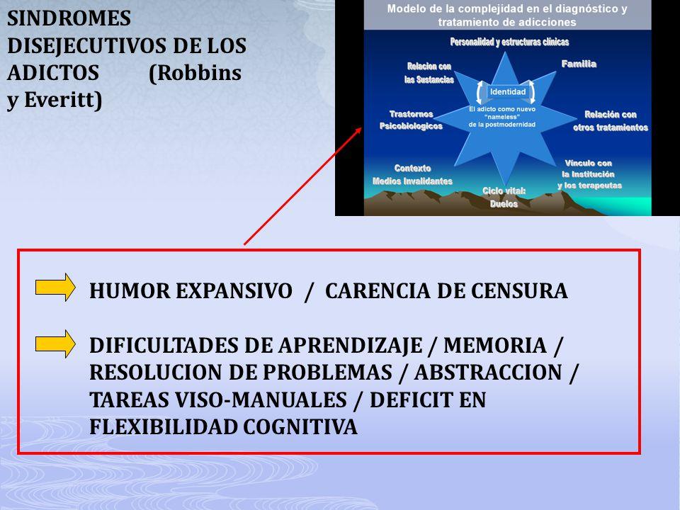 SINDROMES DISEJECUTIVOS DE LOS ADICTOS (Robbins y Everitt)