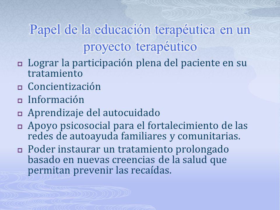 Papel de la educación terapéutica en un proyecto terapéutico