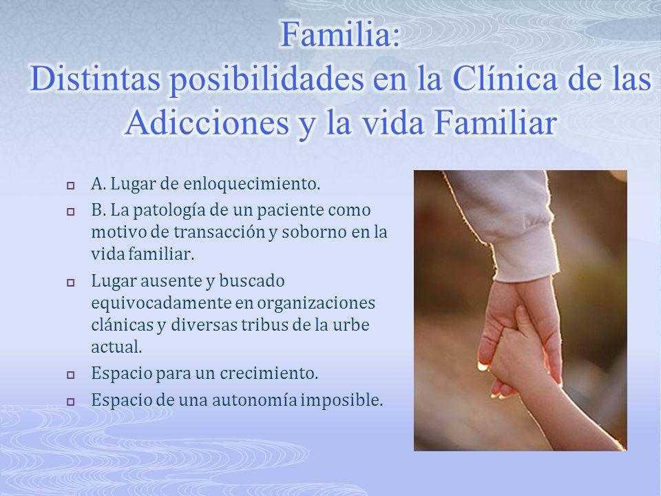 Familia: Distintas posibilidades en la Clínica de las Adicciones y la vida Familiar