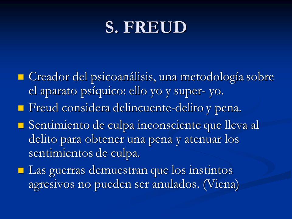 S. FREUD Creador del psicoanálisis, una metodología sobre el aparato psíquico: ello yo y super- yo.