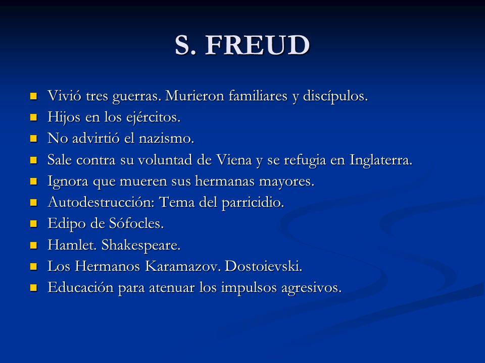 S. FREUD Vivió tres guerras. Murieron familiares y discípulos.