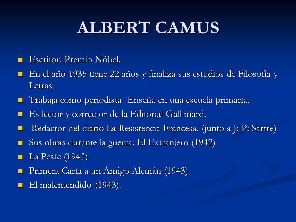 ALBERT CAMUS Escritor. Premio Nóbel.