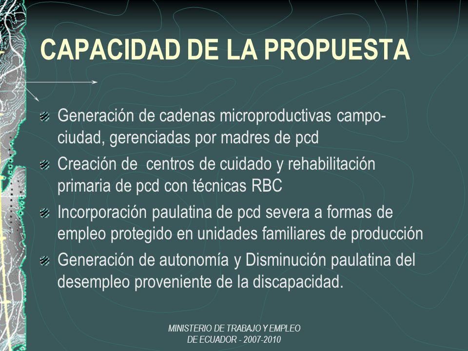 CAPACIDAD DE LA PROPUESTA