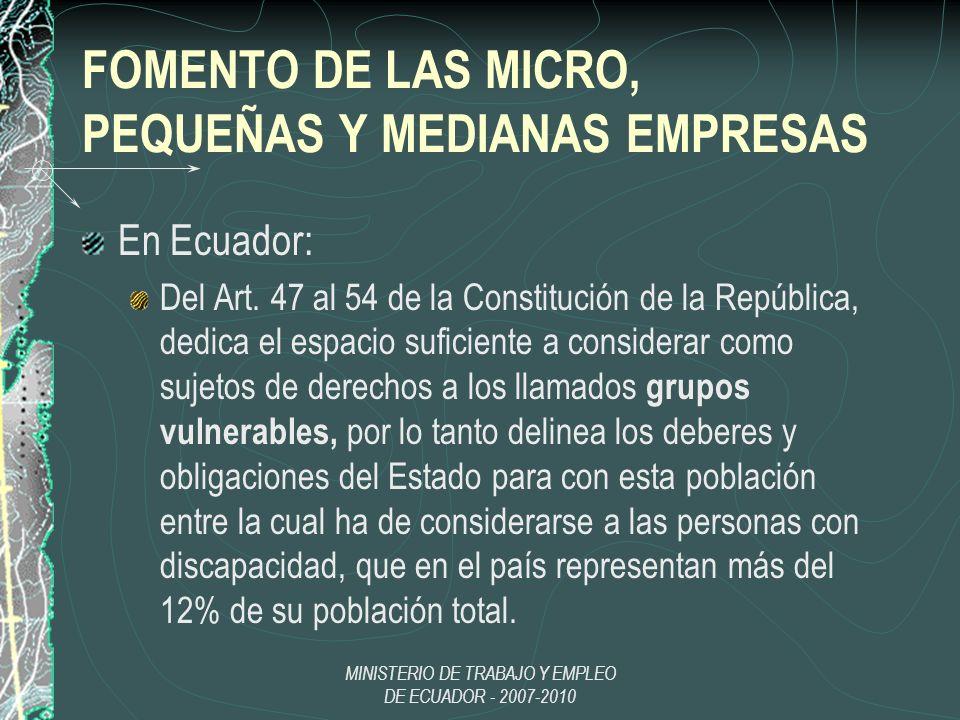 FOMENTO DE LAS MICRO, PEQUEÑAS Y MEDIANAS EMPRESAS