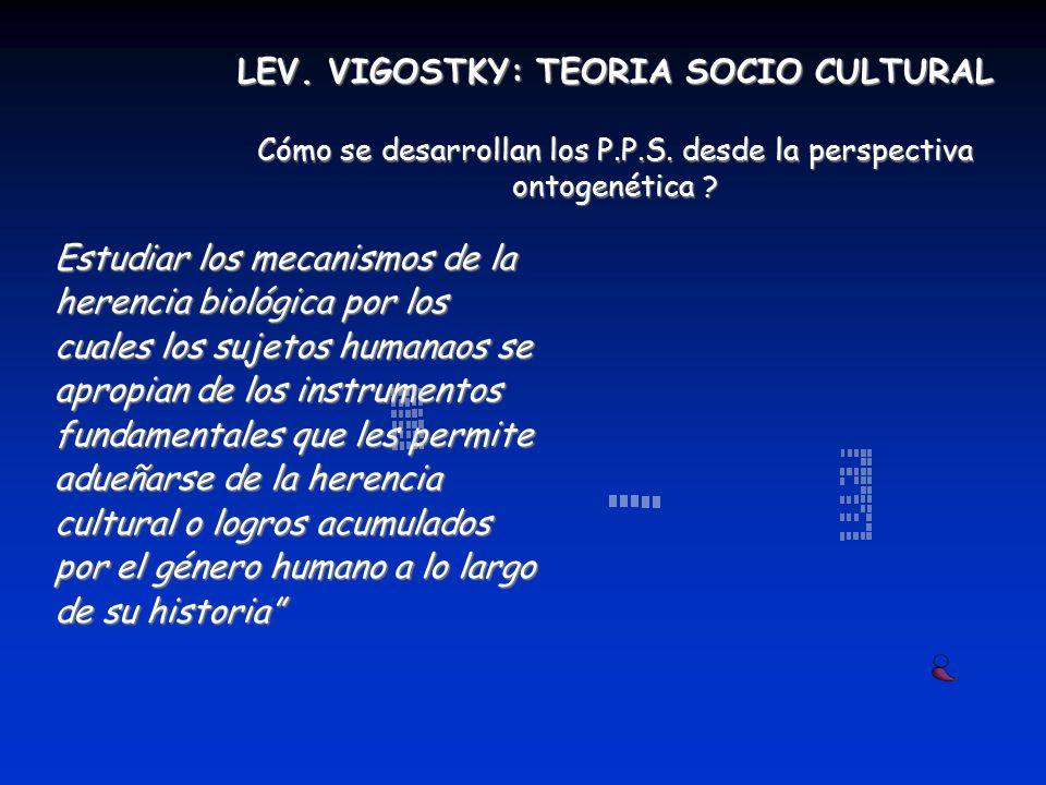 LEV. VIGOSTKY: TEORIA SOCIO CULTURAL Cómo se desarrollan los P. P. S