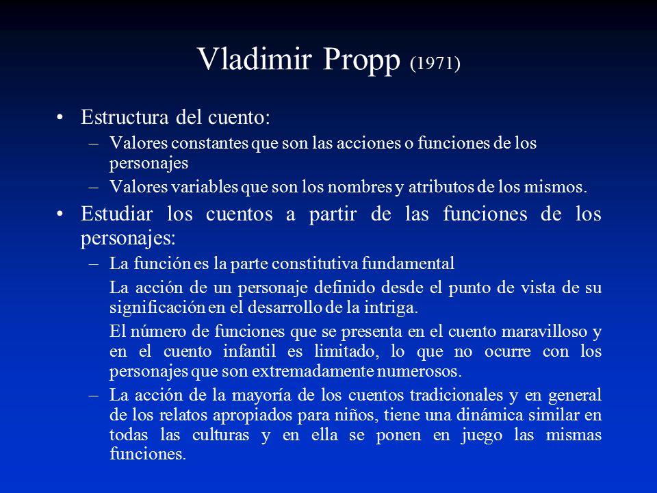 Vladimir Propp (1971) Estructura del cuento: