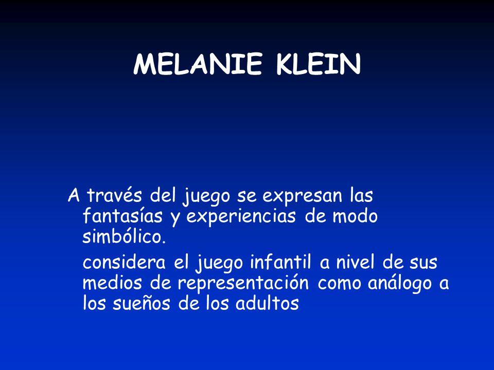 MELANIE KLEIN A través del juego se expresan las fantasías y experiencias de modo simbólico.