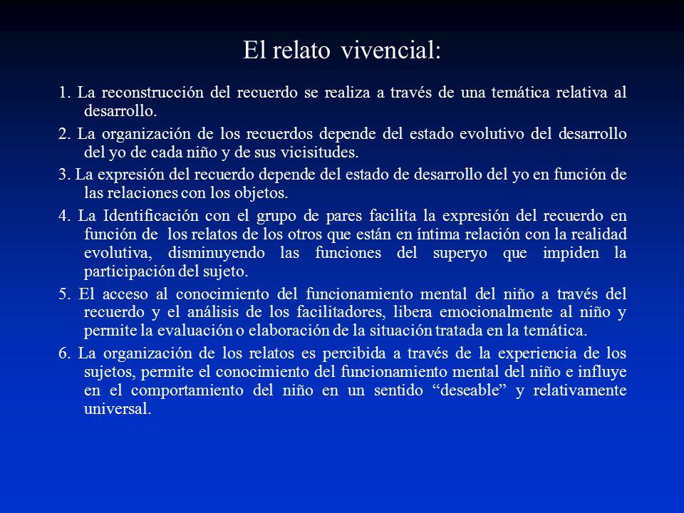 El relato vivencial: 1. La reconstrucción del recuerdo se realiza a través de una temática relativa al desarrollo.