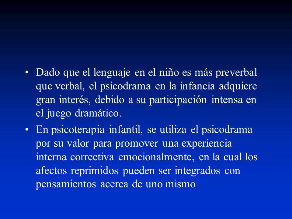 Dado que el lenguaje en el niño es más preverbal que verbal, el psicodrama en la infancia adquiere gran interés, debido a su participación intensa en el juego dramático.