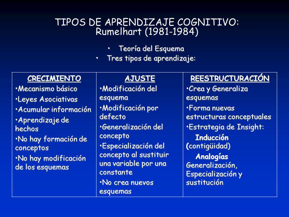 TIPOS DE APRENDIZAJE COGNITIVO: Rumelhart (1981-1984)